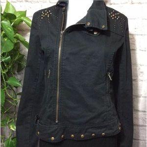Jackets & Blazers - Studded black denim moto jacket